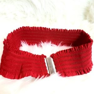 Vintage Retro Red Stretchy Belt Front Clasp Wide